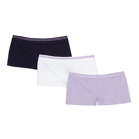 bluezoo - Pack of three girl+s lilac seam free shorts