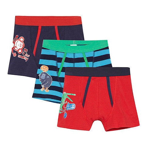 bluezoo - Pack of three boy+s red and navy animal trunks