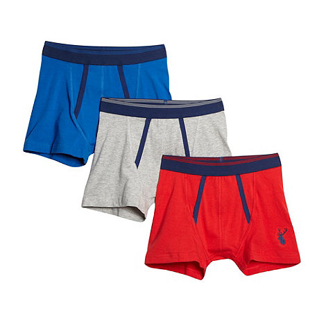 bluezoo - Pack of three boy+s blue red and grey trunks