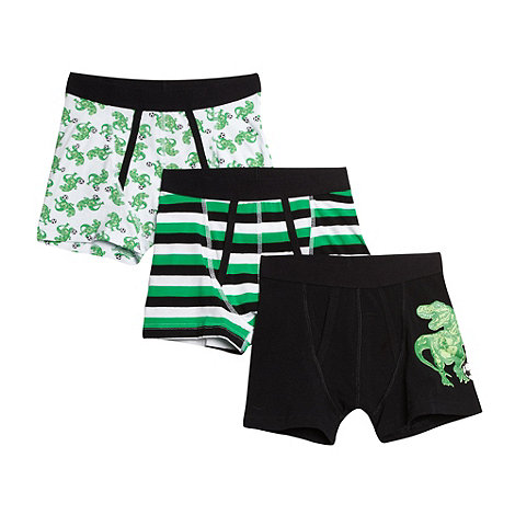 bluezoo - Pack of three boy+s black football trunks