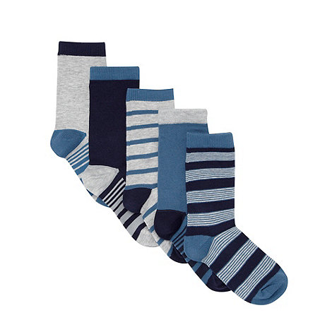 bluezoo - Pack of five boy+s blue striped socks