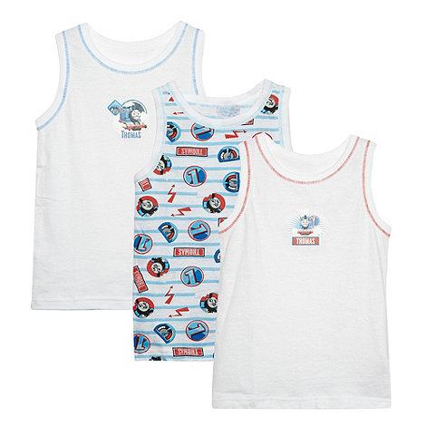 Thomas & Friends - Pack of three boy+s white +Thomas+ vests