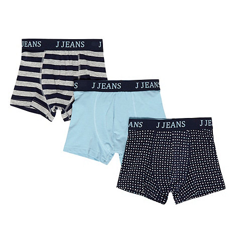 J by Jasper Conran - Designer boy+s pack of three navy striped and spotted trunks