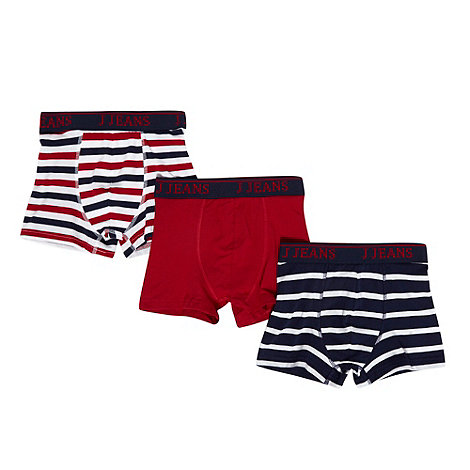 J by Jasper Conran - Designer boy+s pack of three red spotted and striped trunks