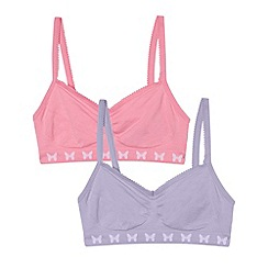 bluezoo - Pack of two girl's pink seam free crop tops