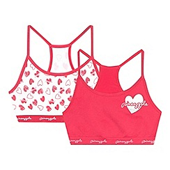 Pineapple - Pack of two girl's pink seam free crop tops