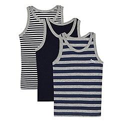 J by Jasper Conran - Designer pack of three boy's navy striped vests