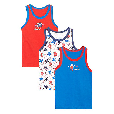 bluezoo - Pack of three boy+s red monster print vests