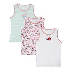bluezoo - Pack of three girl's white ladybird and butterfly vests
