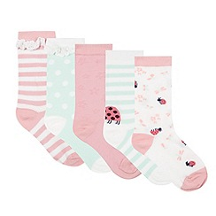 bluezoo - Pack of five girl's light green ladybird socks