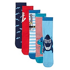 bluezoo - Pack of five boy's blue and red pirate socks
