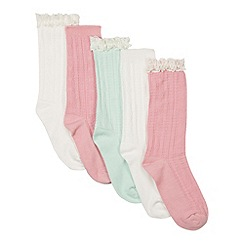bluezoo - Pack of five girl's pink, white and green lace cuff socks
