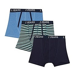 J by Jasper Conran - Designer pack of three boy's green striped trunks