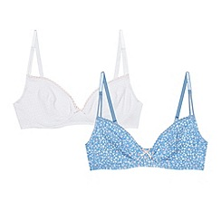 J by Jasper Conran - Designer pack of two girl's blue floral and white spotty starter bras
