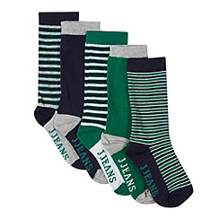 J by Jasper Conran - Pack of five designer boy's green and navy striped logo socks