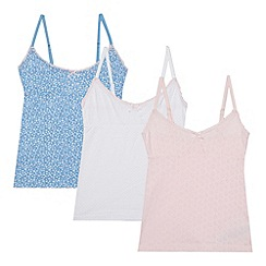 J by Jasper Conran - Designer pack of three girl's white, pink and blue printed vests