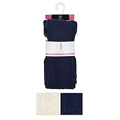 J by Jasper Conran - Pack of two designer girl's navy and cream cable knit tights
