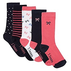 J by Jasper Conran - Designer pack of five girl's navy bow socks