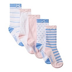 J by Jasper Conran - Pack of five designer girl's blue striped and spotted socks