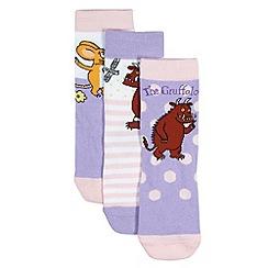 The Gruffalo - Pack of three girl's lilac 'Gruffalo' socks