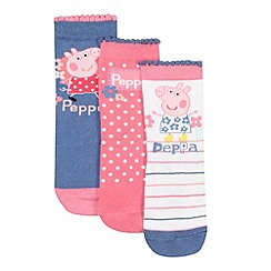 Peppa Pig - Pack of three girl's blue and pink 'Peppa Pig' socks