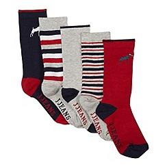 J by Jasper Conran - Pack of five designer boy's red, grey and navy plain and striped socks