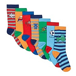 bluezoo - Pack of seven boy's blue striped daily socks