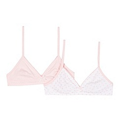 bluezoo - Pack of two girl's pink plain and heart printed starter bras