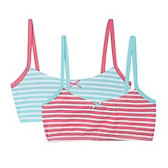 bluezoo - Pack of three girl's aqua and pink striped crop tops