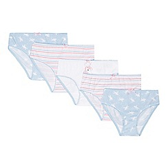 bluezoo - Pack of five girl's white striped and unicorn bikini briefs