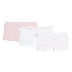 Debenhams - Girls' pack of three pink and white butterfly seam free shorts