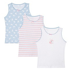 bluezoo - Pack of three girl's white striped and unicorn vests