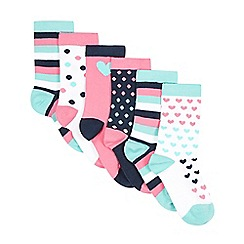 bluezoo - Pack of five girl's pink spotted heart socks
