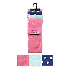 bluezoo - Pack of three girl's bright pink floral tights