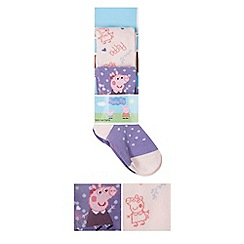 Peppa Pig - Pack of two girl's purple 'Peppa Pig' tights