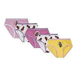 The Gruffalo - Pack of five girl's pink, yellow and white 'Gruffalo' briefs
