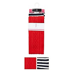 J by Jasper Conran - Designer pack of two girl's red striped tights