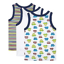 bluezoo - Pack of three boy's white striped and transport printed vests