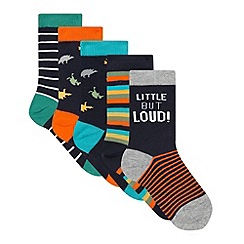 bluezoo - Pack of five boy's navy striped and dinosaur socks