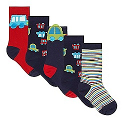 bluezoo - Pack of five boy's navy transport printed socks