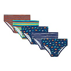 bluezoo - Pack of five boy's navy striped and dinosaur briefs
