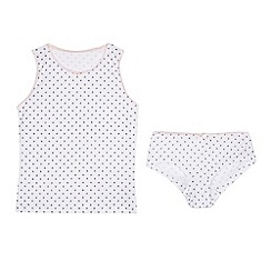 J by Jasper Conran - Girls' white star vest and hipster briefs set