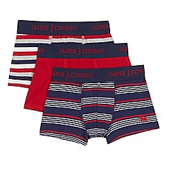 J by Jasper Conran - Pack of three boy's red striped trunks