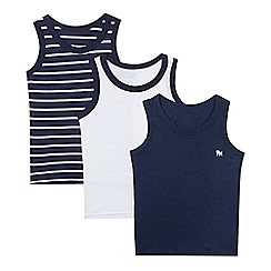 J by Jasper Conran - Pack of three boy's navy plain and striped vests