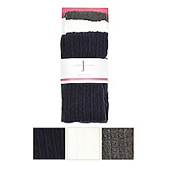 J by Jasper Conran - Girls' assorted cable knit tights pack of three