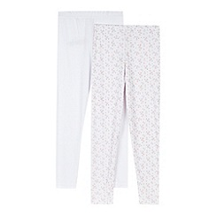 bluezoo - Pack of two girls' plain white and floral thermal leggings