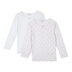 bluezoo - Pack of two girls' pink long sleeved thermal tops
