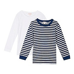 bluezoo - Pack of two boys' white and navy striped thermal tops