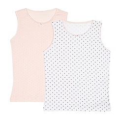 J by Jasper Conran - Pack of two girls' pink star cutout vests