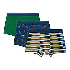 bluezoo - Pack of three boy's navy striped and dinosaur printed trunks